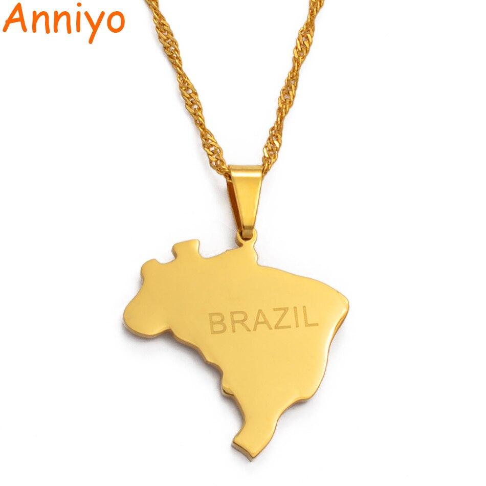 Подвеска и ожерелье Anniyo с бразильской картой, карты Бразилии, золотой цвет, ювелирные изделия, подарки #023921