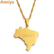 Anniyo brasil mapa pingente & colar brasil mapas ouro cor jóias presentes #023921