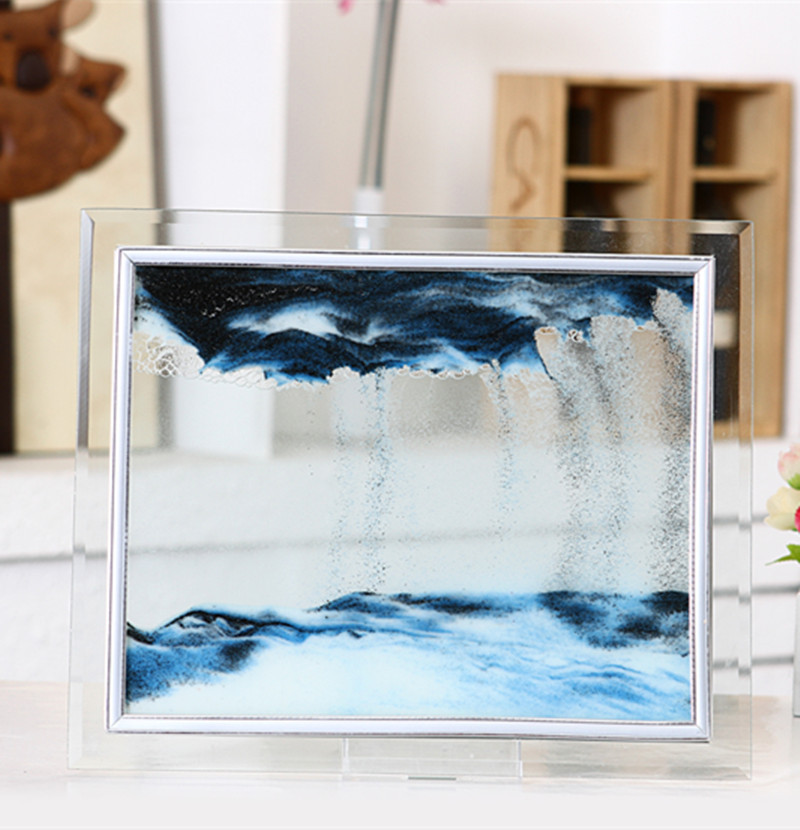 Creative glass quicksand flow landscape painte office living room 3D glass photo frame move sand picture hourglass decor painte image