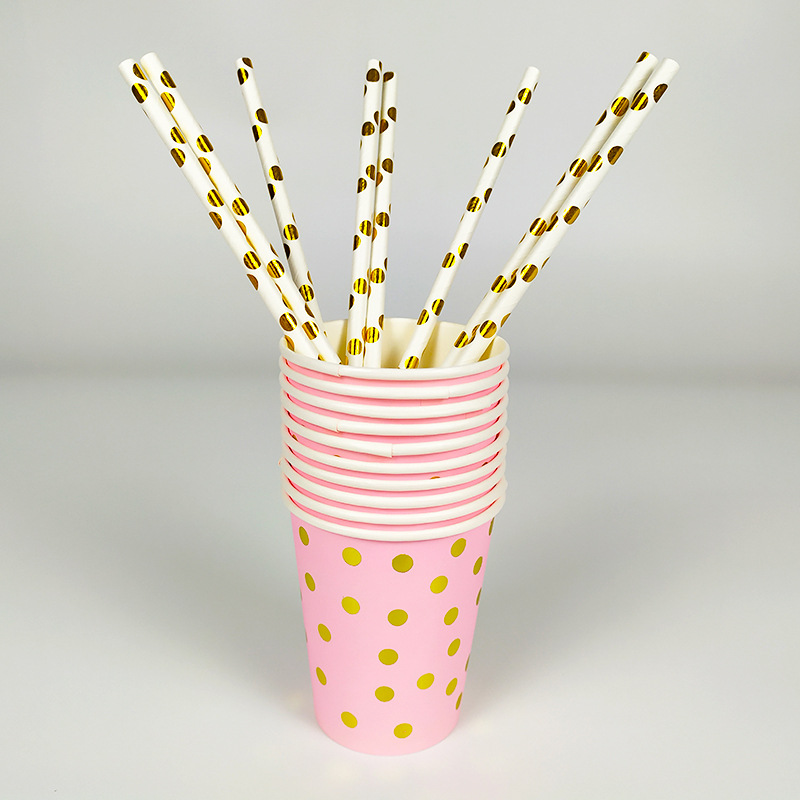 Купить с кэшбэком Gold Bronzing Disposable Tableware Set Paper Plates Cups Napkins Straws Adult Birthday Baby Shower Wedding Party Supplies