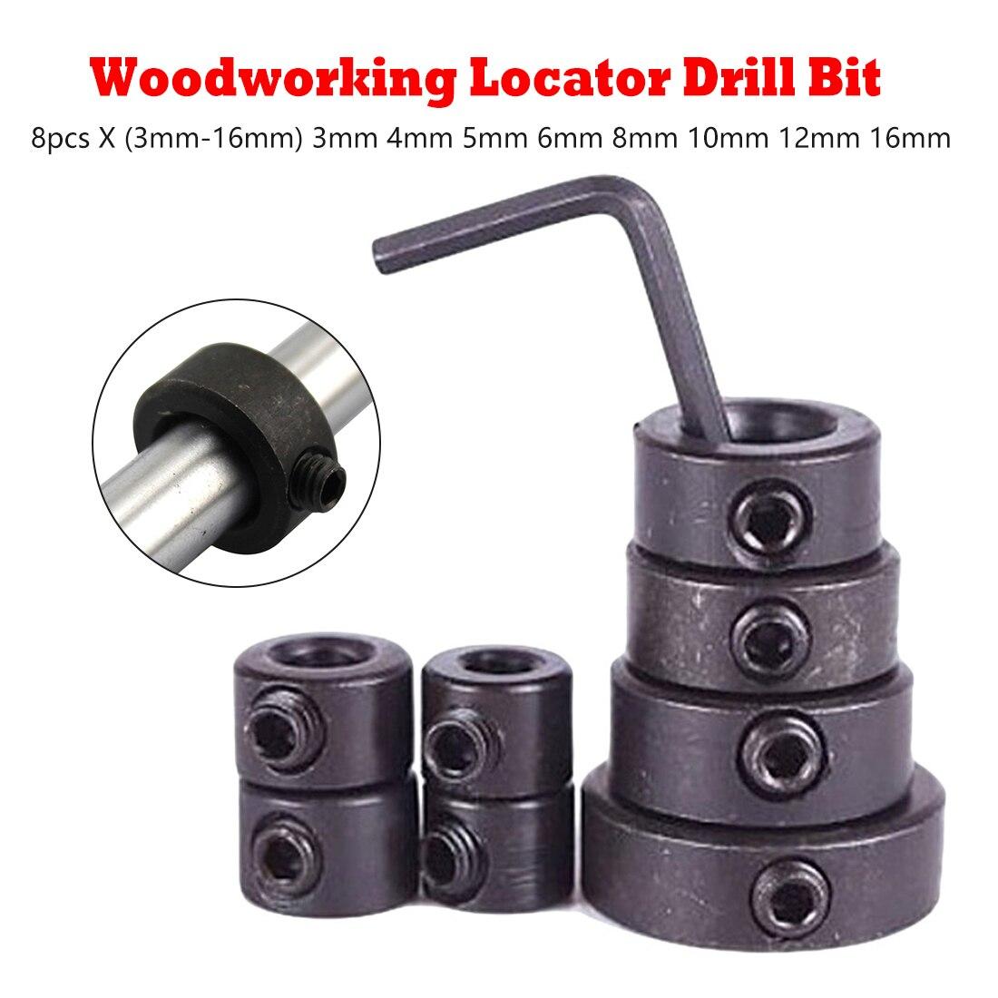 8pcs 3-16mm Woodworking Drill Locator Drill Bit Depth Stop Collars Ring Positioner Drill Locator Wood Drill Bit
