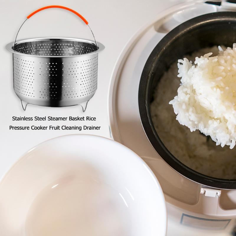 Durable Stainless Steel Steamer Basket Wear Resistance Vegetables Fruits Cleaning Drainer Rice Cook Pressure Cooker