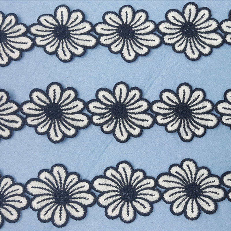 HOT Embroidered Flower Lace Fabric Dubai Sewing DIY Trim Tulle Applique Ribbon Collar Wedding Dress Guipure Decor 100 Yards