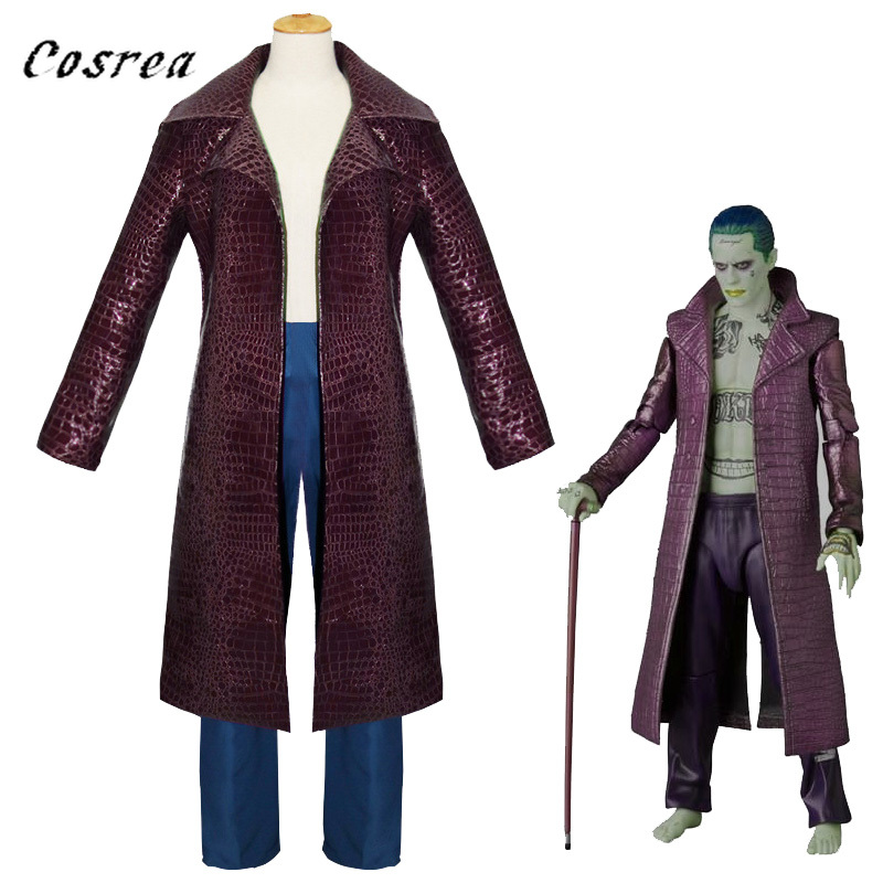 The Joker Cosplay Outfit Clothing Jared Leto Trench Halloween Shoes Boots