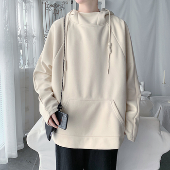 Autumn New Suede Hoodies Men Fashion Solid Color Casual Hooded Pullover Man Streetwear Hip Hop Loose Sweatshirt Male Hoodie