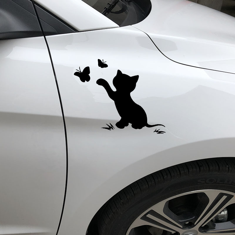 Image 4 - 16.8cm*12.9cm Cat Butterfly Fashion Decor Car Sticker Vinyl Decal Black/Silver S3 6153-in Car Stickers from Automobiles & Motorcycles