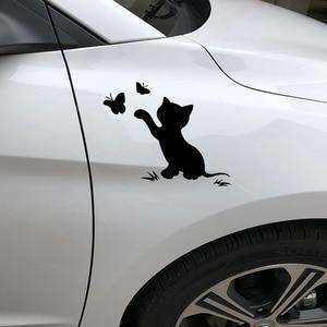Image 4 - 16.8cm*12.9cm Cat Butterfly Fashion Decor Car Sticker Vinyl Decal Black/Silver S3 6153