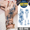 Henna Tattoo Hotwife Festival Transfer Temporary Body Transfer Tattoos 2021 Ephemeral Tato Semi Permanent Flower Hand Blue Black