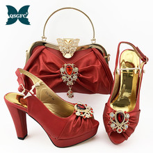 Summer New Arrivals African Design Italian Women Shoes and Bag To Match High Quality with Shinning in Red Crystal For Wedding 2017 red new arrival peep toe shoes and bag set for wedding italian design women s party shoes and bag set free shipping by dhl