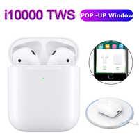 I10000 TWS Pop up Bluetooth 5,0 auriculares inalámbricos auriculares de carga 1:1 réplica no w1 chip i9s i10 i30 i60 i100 i200 tws 500
