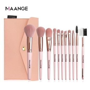 MAANGE 11 Pcs Makeup Brushes Set with Bag Foundation Powder Blush Eyeshadow Concealer Eye Make Up Brush With Case Cosmetic Tools
