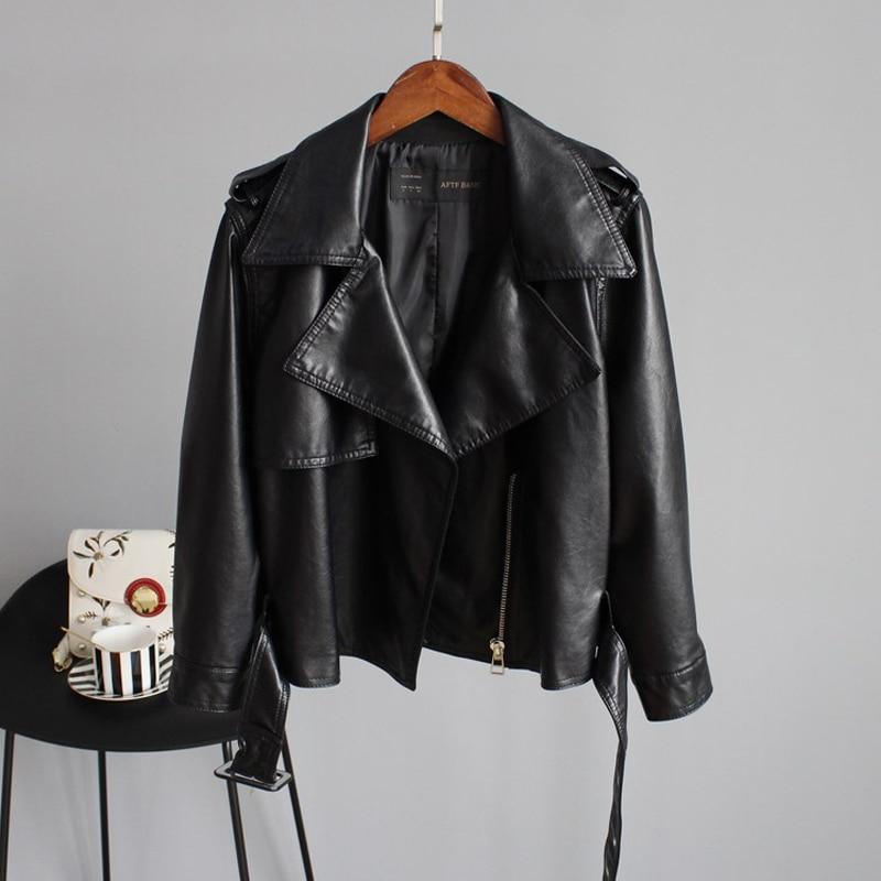 New Autumn Pu Motorcycle Faux Soft Leather Women Jacket Coat Turn-down Collar Long Sleeve Epaule Female Loose Short Jacket
