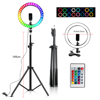10 Inch Led Ring Light Usb RGB Ringlamp USB Light Ring Photo Selfie Lamp with Remote Phone Stand for Streaming Video Photography 14