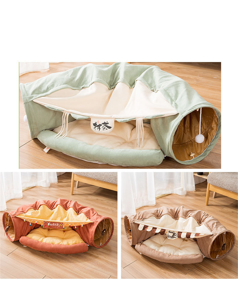 Funny Cat Tunnel bed Collapsible Crinkle Pet tent Kitten Puppy  Ferrets Rabbit interactive Toys 2 holes Tunnel  Pet cat nest 9