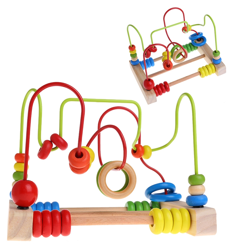 Wooden Toddler Toys Circle Bead Maze Educational Toys Gift For Children Kids Y4UD