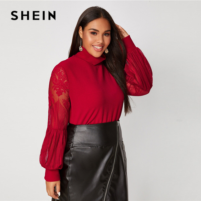 SHEIN Plus Size Black Mock Neck Lace Lantern Sleeve Fitted Top Women Autumn Solid Elegant Office Lady Womens Tops and Blouses 5