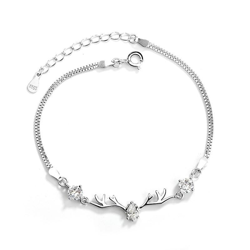 WEARLIKES S925 Sterling Silver Bracelet For Women Deer  Zircon Bracelet  Crystals  Beads Natural Crystal Stone  Fashion Jewelry