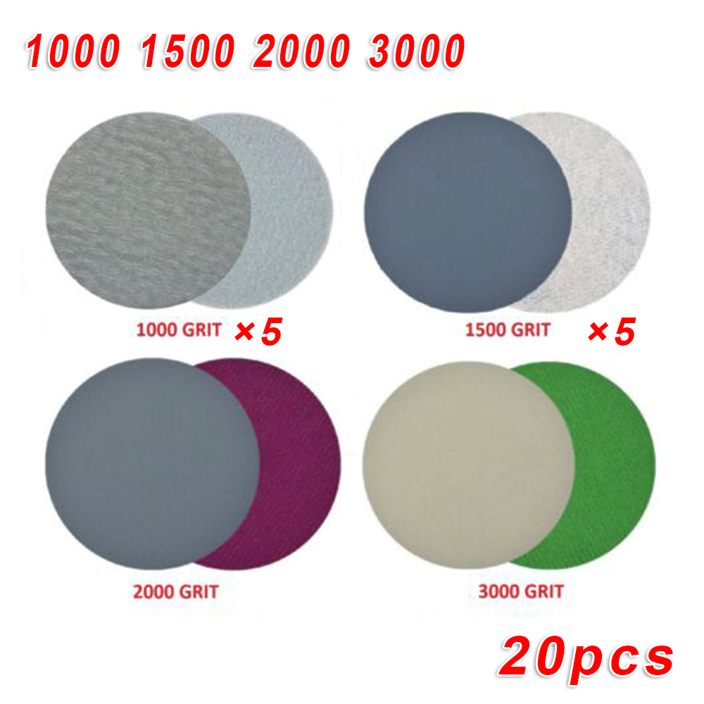 "20Pcs 3""/5"" Hook Loop Wet Dry Sanding paper Sand Pads Set 1000/1500/2000/3000 Grit Sander Disc Abrasives for polish machine Abrasive Tools    - AliExpress"