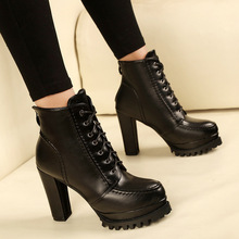 Hot Fashion Black Lace-up Women High Heel Round Toe Ankle Boots Autumn/Winter Female