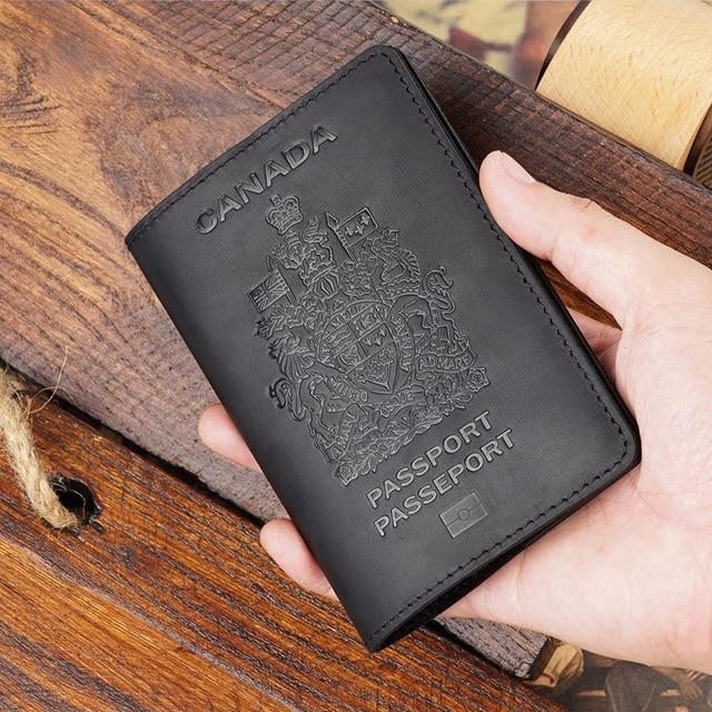 Retro Genuine Leather Canada Passport Cover for Canadians Men Passport Case Travel Wallet