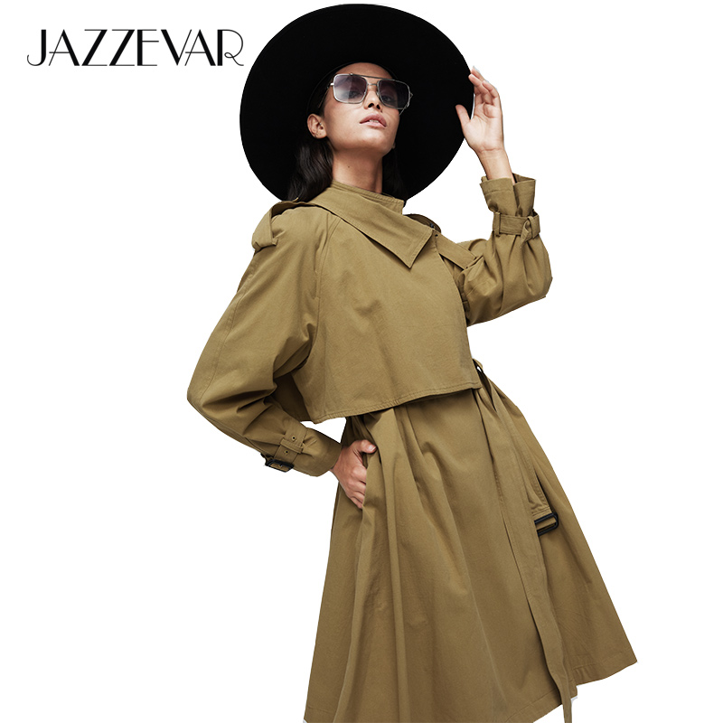 JAZZEVAR 2019 New Arrival Autumn Trench Coat Women Cotton Long Hooded Coat Loose Clothing Oversized Outerwear High Quality 9002