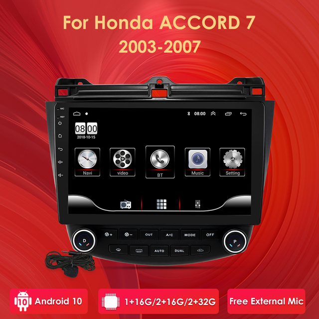 """Ossuret 10"""" Android 10 Car radio GPS Navigation for Honda ACCORD 7 2003 2004 2005 2006 2007 SWC FM CAM IN BT USB DAB DTV OBD PC"""