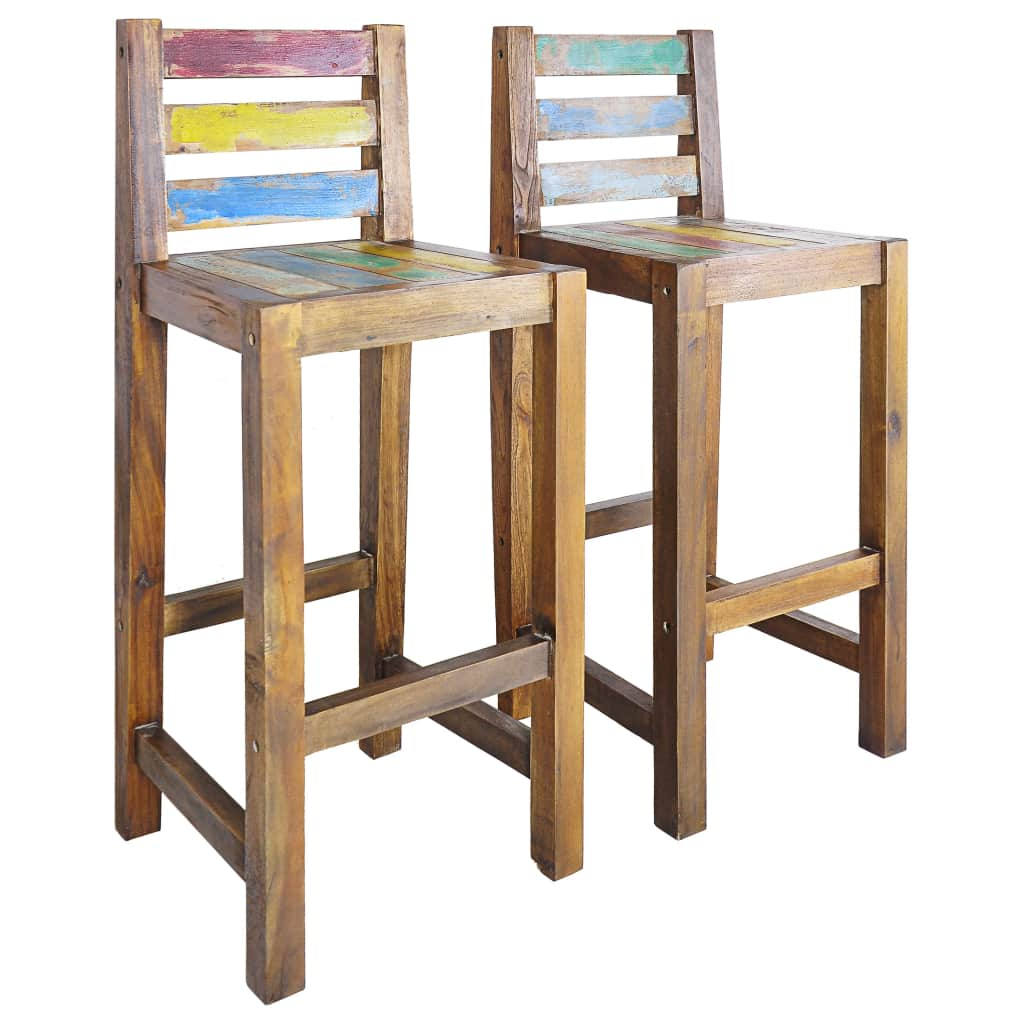 VidaXL Bar Stools 2 Pcs Solid Reclaimed Wood
