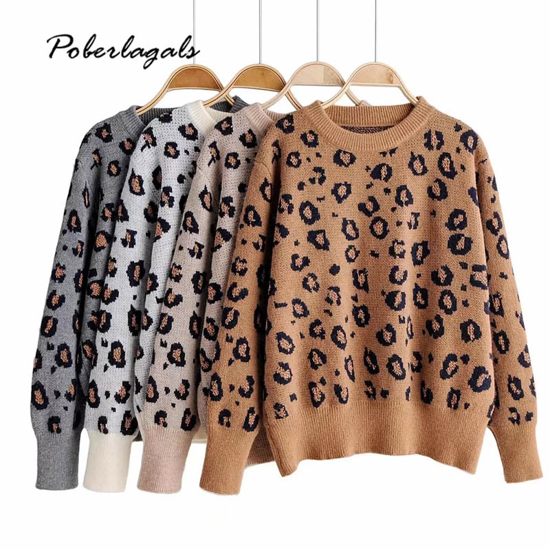 Lazy Leopard Print Knitted Autumn Sweater Women 2019 Winter Sweater Womens Loose Pullovers Female Oversize Sweater
