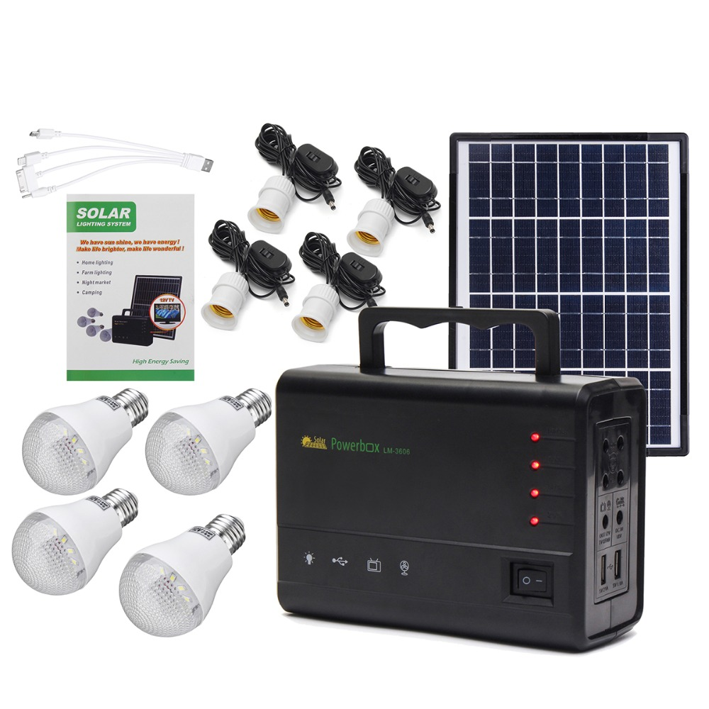 Reusable Solar Generator with 4 LED Bulbs Used as Power System Home and Outdoor Camping 1