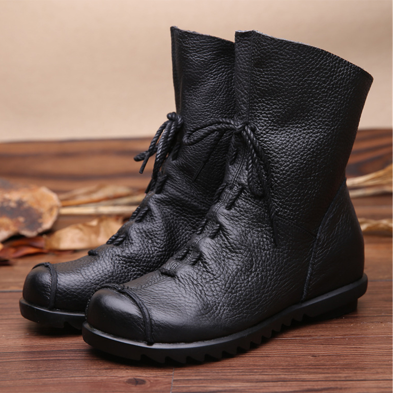 2020 Vintage Style Genuine Leather Women Boots Flat Booties Soft Cowhide Women's Shoes Front Zip Ankle Boots zapatos mujer