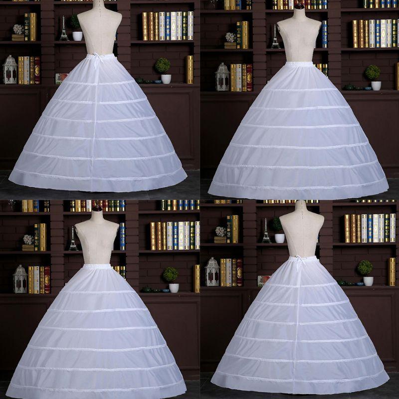 Womens Full A-Line 6 Hoop Floor Length Wedding Dress Petticoat Adjustable Drawstring Waist Bridal Gown Crinoline Underskirt Slip