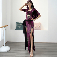 Belly Dance Clothing Female Sexy Practice Costumes Oriental Dance Performance Stage Wear Autumn Sequin Long Robe Dress DQL2570