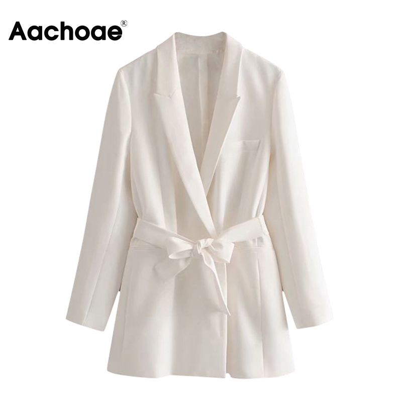 Aachoae Double Breasted Blazer Women With Belt Notched Collar Pockets Office Jacket Long Sleeve White Ladies Tops Chaqueta Mujer