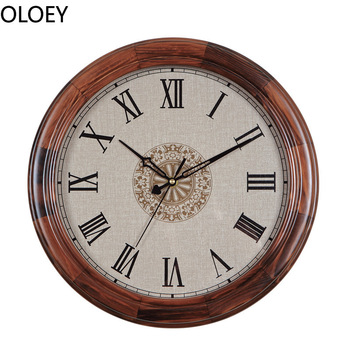 Solid Wood Wall Clock Retro Silent Clock Living Room Bedroom Home Decor Wall Watch Office Shabby Chic Clocks Wall Classic