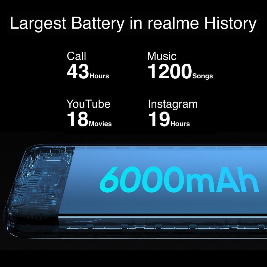realme 7i RMX2193 6.5''HD+ 4GB 64GB 48MP AI Triple Cams Smartphone Helio G85 Octa Core 18W Quick Charge 6000mAh Mobile Phone