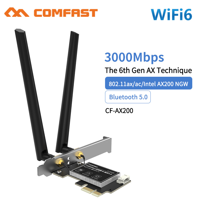 Wireless Dual Band 3000Mbps WiFi 6 Intel <font><b>AX200</b></font> NGFF M.2 <font><b>PCIE</b></font> Bluetooth 5.0 Wifi Network Card AX200NGW 2.4G/5G 802.11 AX MU-MIMO image