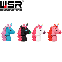 Cute cartoon unicorn Usb2.0 pen drive 32gb 64gb 128gb cute horse usb key 4gb 8gb 16gb sweet small fresh rainbow color best gift(China)