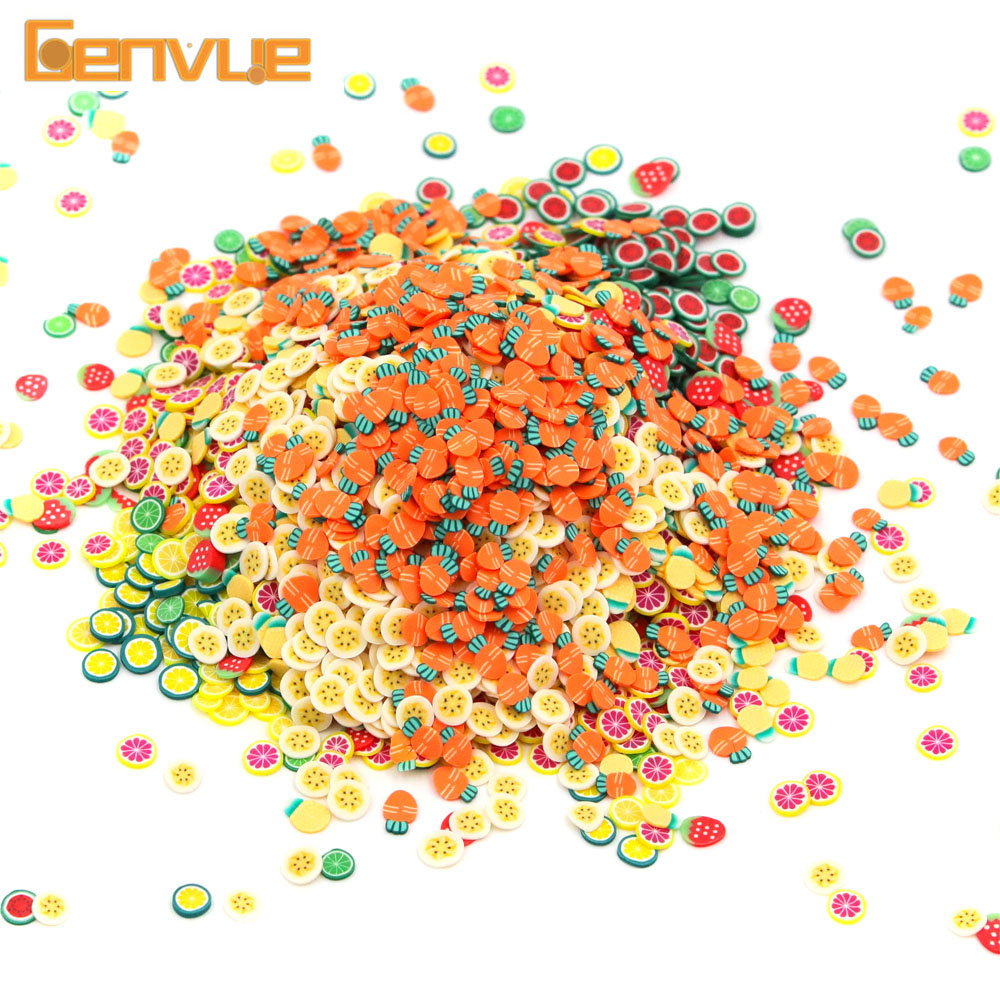 Fimo Foam Beads Polymer Clay Putty Slime Charms Addition Soft Fimo Fruit Slices Lizun Slime Accessories Supplies DIY Nail Mobile