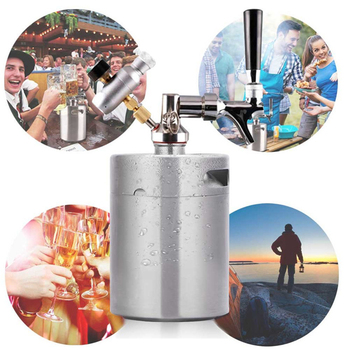1.8L/64oz Stainless Steel Mini Pressurized Beer Mini Keg Kit Portable Mini Keg Dispenser Homebrew Keg System Kit With Carbonator фото