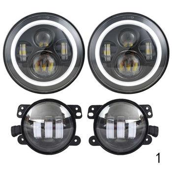 2PCS 7inch Round LED Headlight Assembly + 2PCS X 30W 4inch LED Fog Light for Jeep Wrangler Hummer H1 H2