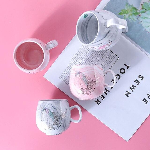 Фото креативные мраморные кофейные кружки фламинго 350 мл керамическая цена