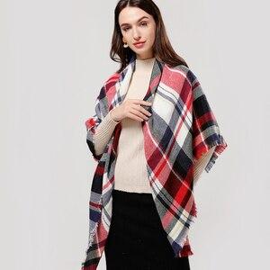 Image 5 - Designer 2020 knitted spring winter women scarf plaid warm cashmere scarves shawls luxury brand neck bandana  pashmina lady wrap