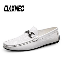 CLAXNEO Man Moccasins Genuine Leather Male White Boat Shoes Casual Shoe Mens Loafers