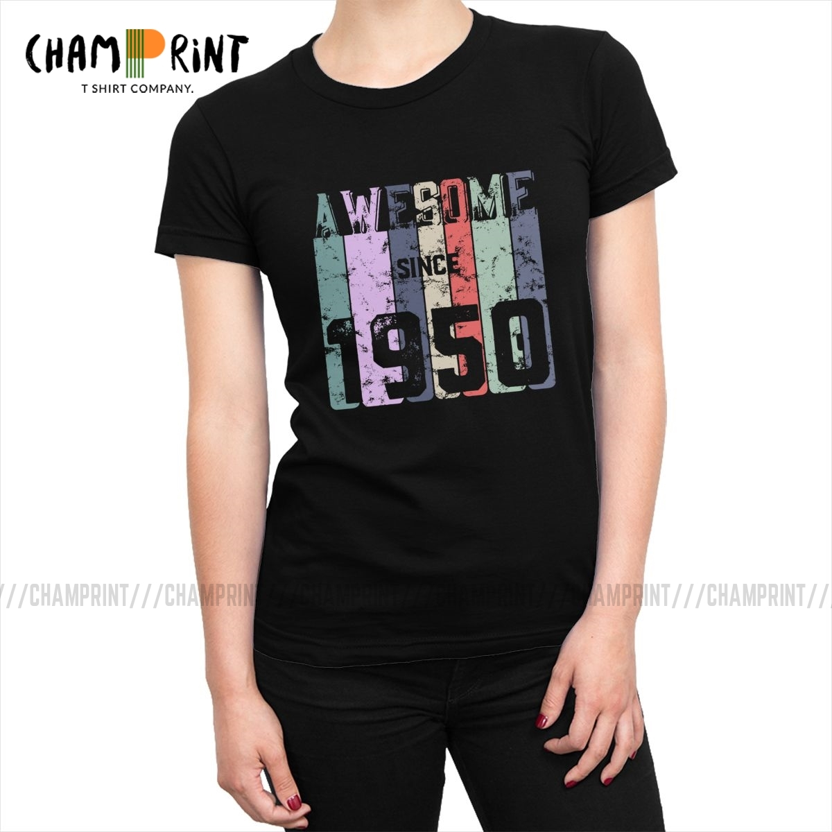 Awesome Since 1950 T-<font><b>shirt</b></font> Women's 70th <font><b>Birthday</b></font> Gift Tshirt Fashion Tops Tees Streetwear <font><b>70</b></font> Years Old Female Clothing image