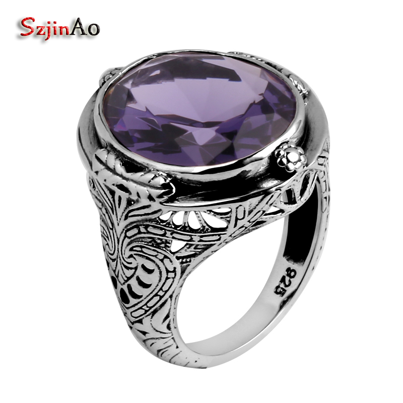 Szjinao Amethyst Ring Women Purple Oval silver Rings 925 Flowers Carve Prong Setting Fashion 2020 Brand Gemstone Jewllery Gifts