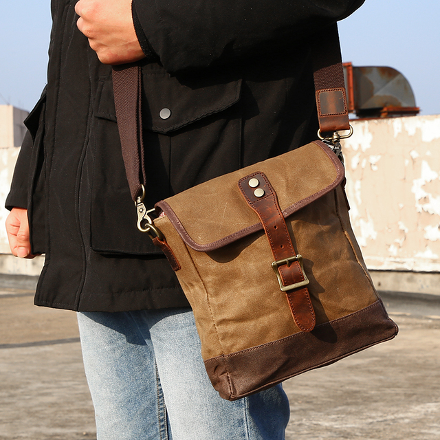 SCIONE Men Oil Wax Canvas Leather Crossbody Bag Men Military Army Vintage Messenger Bags Shoulder Bag Casual Travel Bags 4