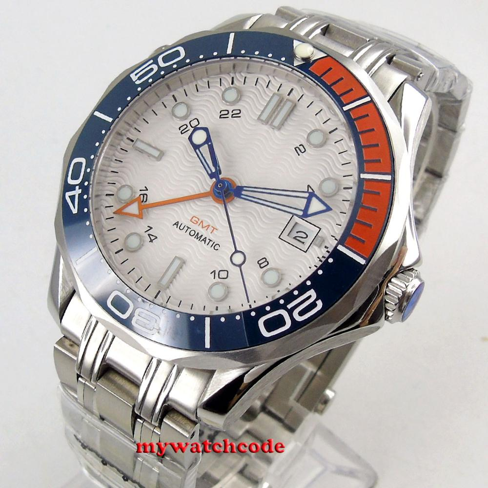 41mm Bliger Sterile White Dial Sapphire Glass GMT Date  316L Stainless Steel Bracelet Automatic Mens Watch B320