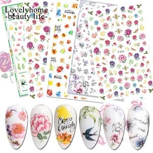 3D наклейка с цветком для ногтей наклейки животных линия сердца со стрелой лист фрукты дизайн ваших ноготков, украшения для ногтей лак украш...