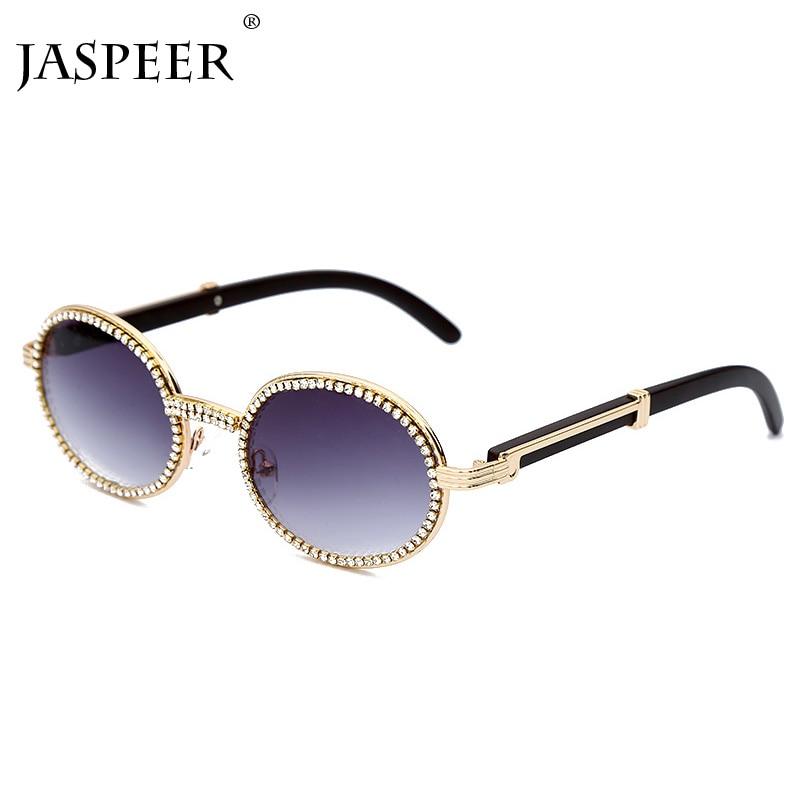 Jaspair diamant rond lunettes de soleil hommes femmes marque de luxe concepteur cadre en plastique violet strass Punk lunettes de lunettes