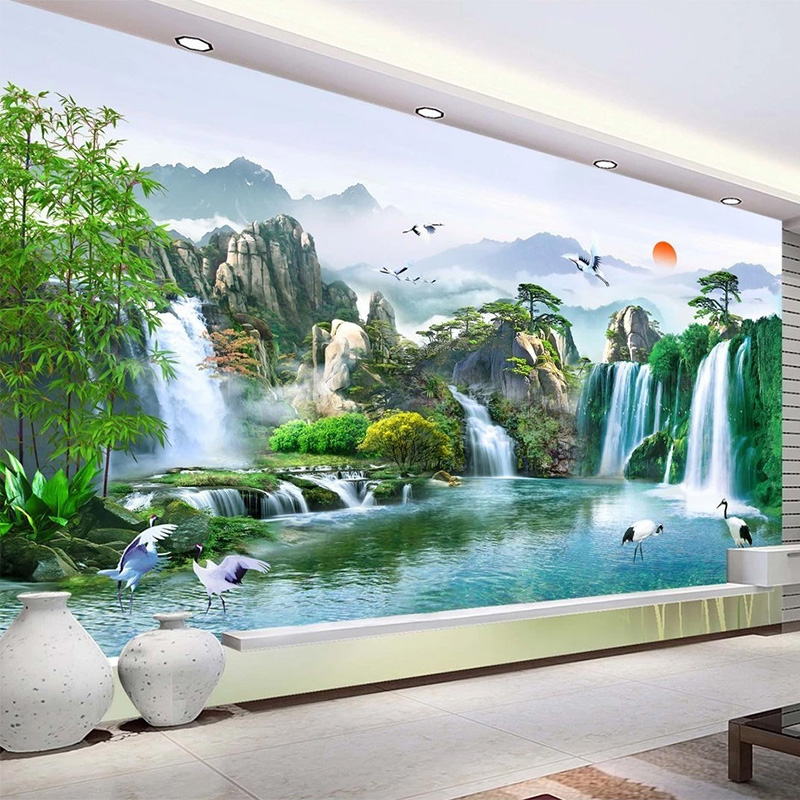Custom Any Size Mural Wallpaper Chinese Style Waterfalls Nature Landscape Wall Painting Living Room TV Study Classic Wallpapers